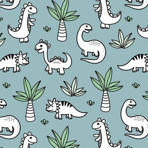 Little kawaii dino land palm trees and dinosaurs dragons kids baby boys blue green