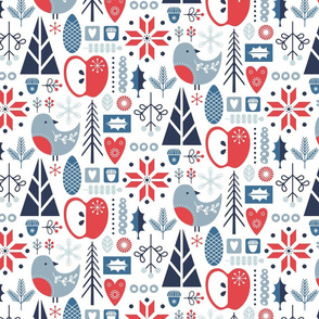 Scandi florals - red & blue - small scale