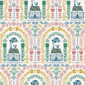 Folk Art Rainbow - Colorful Repeat // hand drawn scandinavian folk art rainbow pattern fabric