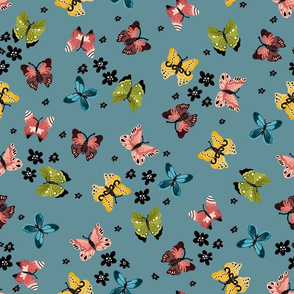 Colorful Butterflies-Turquoise