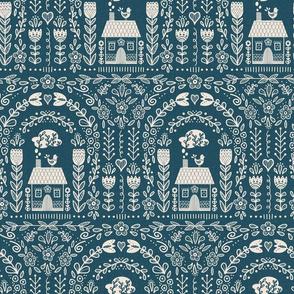 Folk Art Rainbow - Blue Repeat // hand drawn scandinavian folk art floral flower pattern fabric