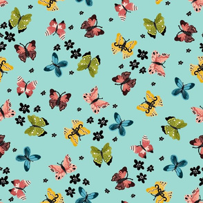 Colorful Butterflies-Teal