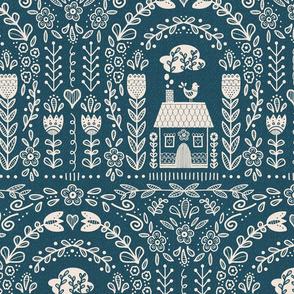 Folk Art Rainbow - Blue Repeat- Large scale // hand drawn scandinavian folk art floral flower pattern fabric and wallpaper