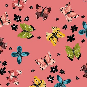 Colorful Butterflies-Pink