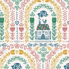 Folk Art Rainbow - Colorful Repeat- Large scale // hand drawn scandinavian folk art rainbow pattern fabric and wallpaper