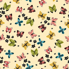 Colorful Butterflies-Pastel Yellow