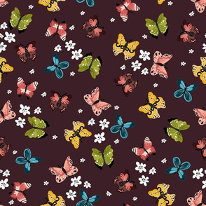 Colorful Butterflies-Maroon