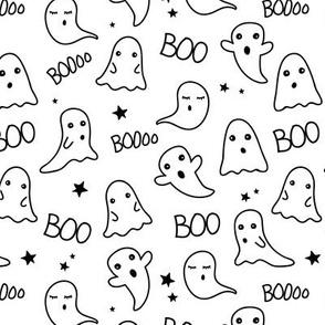 Spooky night ghost boo baby and stars kawaii halloween nursery pattern kids neutral monochrome black and white