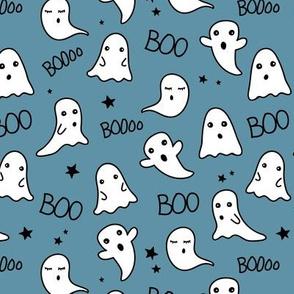 Spooky night ghost boo baby and stars kawaii halloween nursery pattern kids blue boys