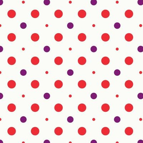Red and purple dots circles of different sizes over beige background seamless pattern