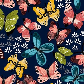 Colorful Butterflies V2-Blue