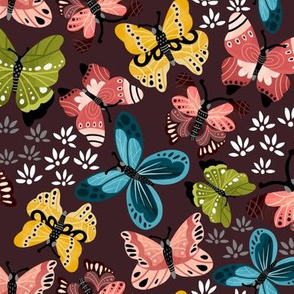 Colorful Butterflies V2-Maroon