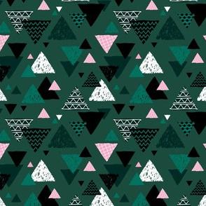 Geometric triangle aztec illustration hand drawn pattern winter green pink