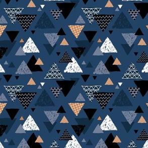 Geometric triangle aztec illustration hand drawn pattern winter navy blue cinnamon