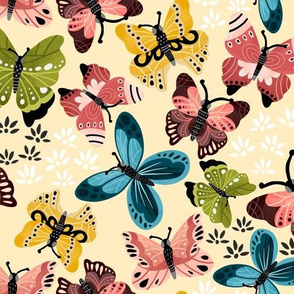Colorful Butterflies V2-Pastel Yellow