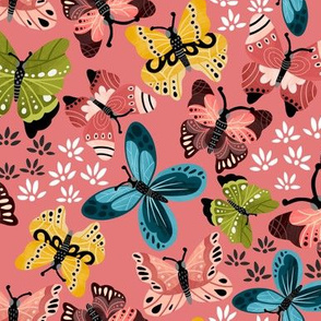 Colorful Butterflies V2-Pink