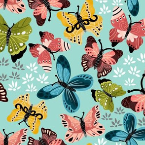 Colorful Butterflies V2-Teal