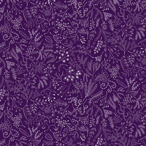 Botanical Doodles--white on dark purple