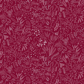 Botanical Doodles--white on dark red