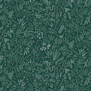 Botanical Doodles--white on dark green