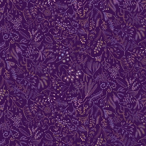 Botanical Doodles--multicolor on dark purple