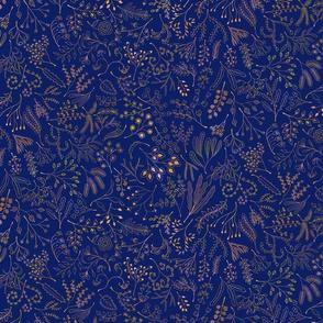 Botanical Doodles--multicolor on dark blue