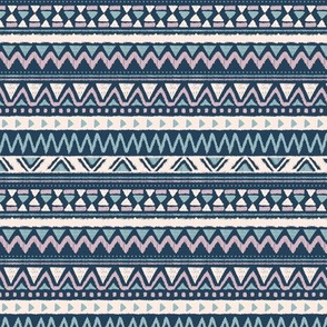 Aztec folklore indian pattern in winter blue lilac