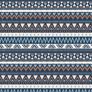 Aztec folklore indian pattern in winter blue navy brown rust trend