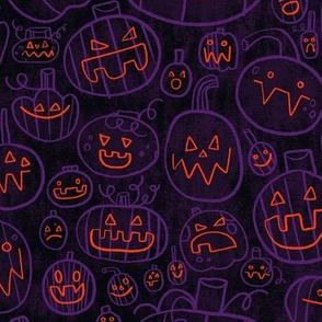 Spooky Scary Jack-O-Lanterns in Purple