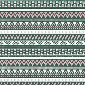 Aztec folklore indian pattern in winter forest green pink