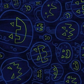 Spooky Scary Jack-O-Lanterns in Blue ROTATED