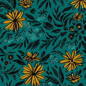Floral Teal & yellow - Large Scale