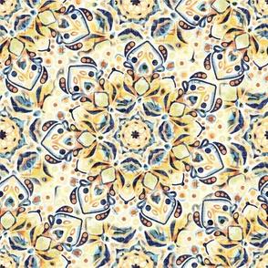 Stained Glass Mandalas - Mustard Yellow & Navy (Medium Version)