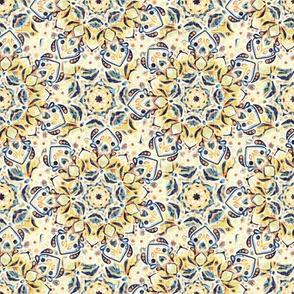 Stained Glass Mandalas - Mustard Yellow & Navy (Small Version)