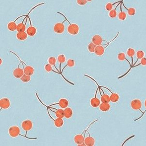 Berries on light blue