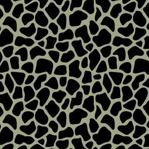 Trendy minimal safari animal print abstract giraffe wild life spots winter autumn sage green black