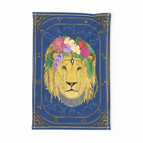 Leo the Lion Astrology Tea Towel by Gabrielle Cave