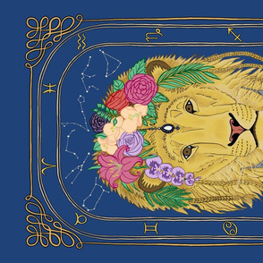Leo the Lion Astrology Tea Towel by Gabrielle Cave