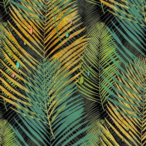 green gold and black jungle palms