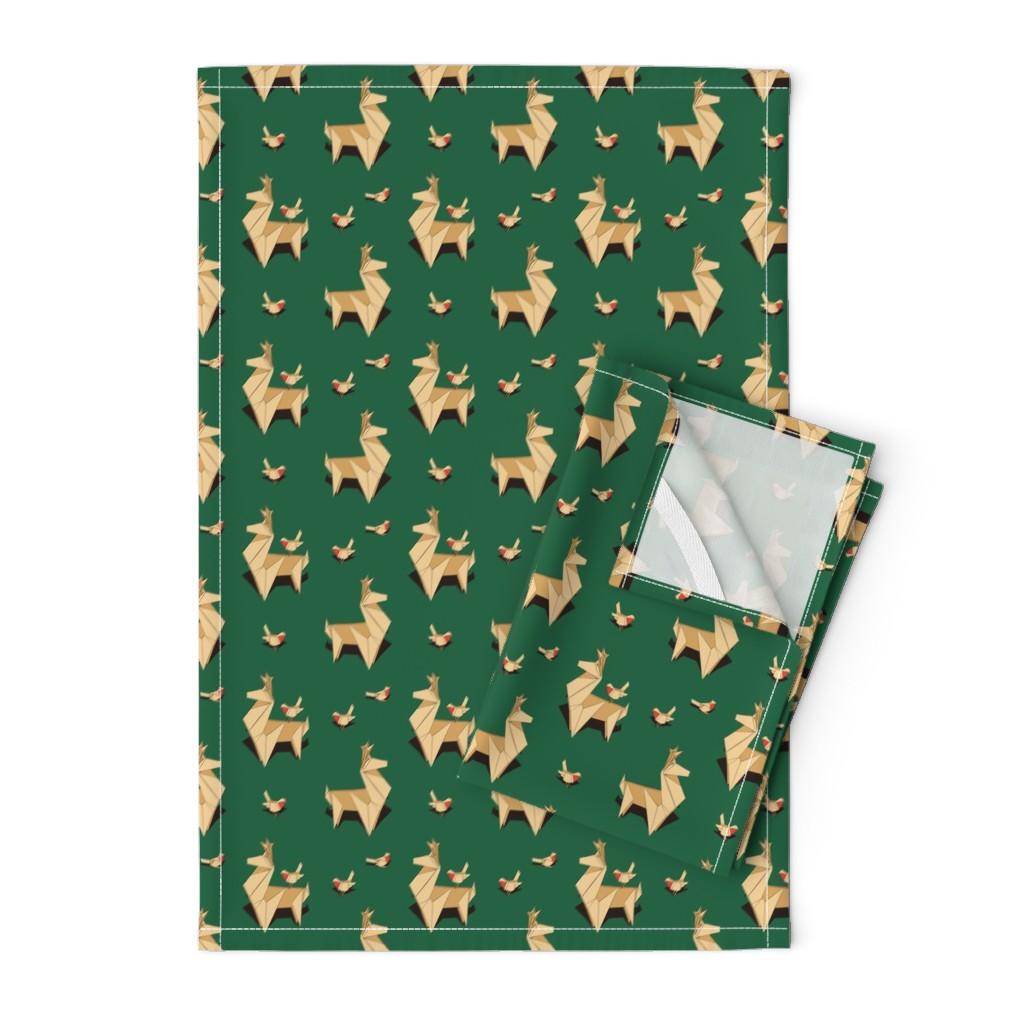 Orpington Tea Towels featuring Origami Reindeers by nadyabasos