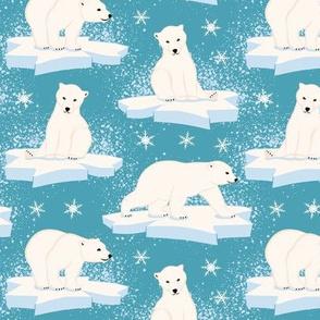 Polar Bears with Ice and Snow