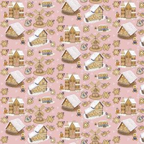 Gingerbread Cottages on Pink