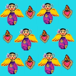Mexican Angels and Hearts Turquoise