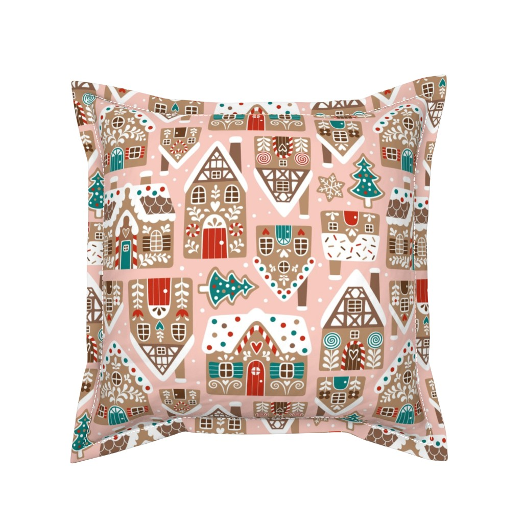 Serama Throw Pillow featuring gingerbread village - light pink, large by mirabelleprint