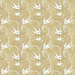 White swallows on gold