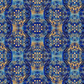 Blue Gold Circle Floral Motif