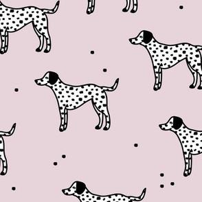 Little minimal dalmatian puppy dog friends kids autumn winter lilac  pink
