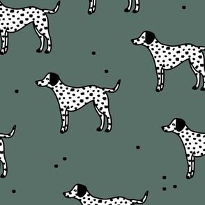 Little minimal dalmatian puppy dog friends kids autumn winter sage green