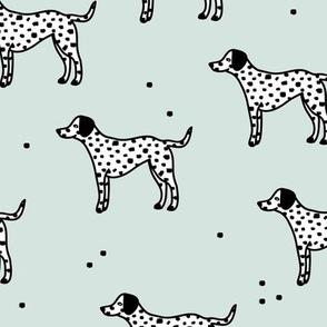 Little minimal dalmatian puppy dog friends kids autumn winter mint green