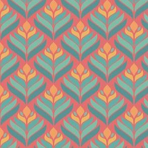 Green Pink Leaves, Geometric Pattern